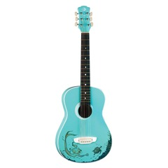 Luna Aurora Mermaid Mini Acoustic Guitar, Aqua